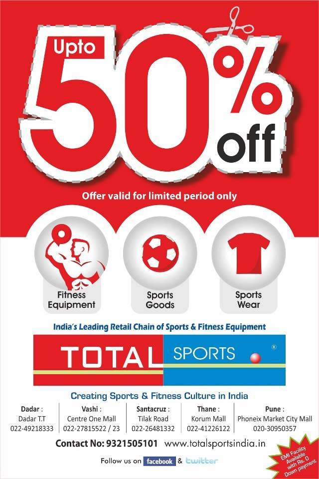 Total Sports Upto 50% off limited period offer on Sports