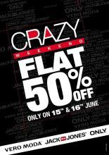 Crazy Weekend, Flat 50% off Sale, 15 & 16 June, Vero Moda, Jack & Jones, ONLY, Amanora Town Centre, Hadapsar