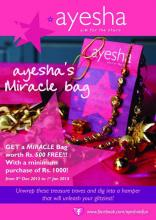 Christmas Offer - Get a Miracle Bag worth Rs.500 free with a minimum purchase of Rs.1000 at Ayesha Accessories stores from 5th December 2012 to 1st January 2013
