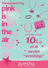 Valentines Day offer - 10% off on PINK accessories at Ayesha Accessories from 10 to 15 Feb 2013