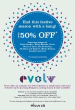 <strong>Evolv</strong> celebrates the festive season by giving you further discounts on your favourite designer pieces! Upto 50%* off featuring designs by Rohit Gandhi + Rahul Khanna, Evolv, House Of Three, Not so Serious, Abraham and Thakore, Malini Ramani, Anaikka and more.