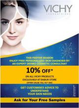 10% off* on all Vichy Products exclusively at Dabur New U stores. This festive season enjoy free personalized skin diagnosis by an expert dermo cosmetic consultant. Get customized advice to understand your skin needs.