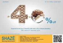 Enjoy the joy of festivity with 40% off on Shaze jewellery - offer valid until 31 December 2012