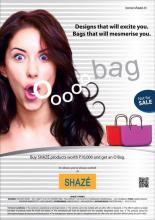 Buy SHAZE products worth Rs.10,000 and get a funky O Bag Free