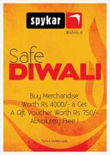 Diwali Offer - Buy merchandise worth Rs.4000 & get a gift voucher worth Rs.750 at Spykar.