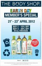 The Body Shop Earth Day Members Special 21st to 23rd April 2012