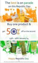 Celebrating the spirit of the 65th Republic Day - Buy one product & get 50% off on the second from 13 to 26 January 2014 at The Nature's Co
