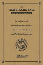The Timberland Sale - Upto 50% off from 22 December 2012 to 31 January 2012. Get up to 50% off on Timberland footwear, apparel and accessories!