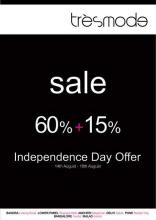 tresmode Sale, Independence Day Offer, 60% + 15% off, 14 to 18 August 2013