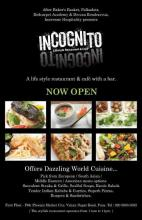 The INCOGNITO - Lifestyle Restaurant & Cafe with a bar is now open at the Phoenix Marketcity Mall, Viman Nagar Pune. Offers Dazzling World Cuisine .. Pick from European, South Asian, Middle Eastern, American Food, Succulent Steaks & Grills, Soulful; Soups, Exotic Salads, Tender Indian Kababs & Curries, Superb Pizzas, Burgers and Sandwiches.