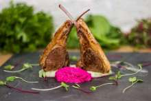 Easter special recipe by Chef Navtej Sawhney of Arthur's Theme, Balewadi High Street  Lamb chops with roasted beet coulis